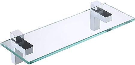 KES Badkamer Glas Plank 50CM Douche Plank 8 MM Dikke Vierkante Gehard Glas met Gepolijste Chrome Beugel Wandmontage, BGS3201