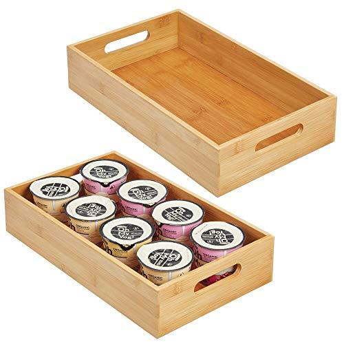 mDesign trälådor för köksförvaring – öppen förvaringsbricka i bambu med handtag – perfekt som skåparrangör, i skafferiet eller på hyllor – 2-pack – naturell