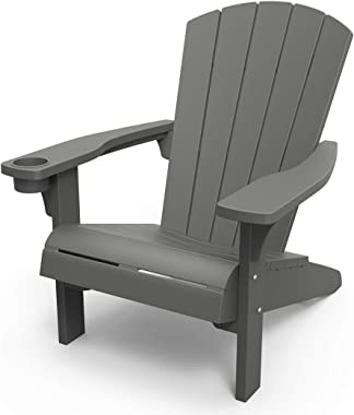 KETER Alpine Adirondack Resin Outdoor Furniture Patio Chairs with Cup Holder-Perfect for Beach, Pool, and Fire Pit Seating, D