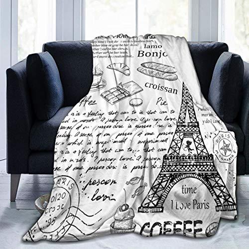 PANILUR Manta de Franela Suave,Elementos Parisinos Famosos Tradicionales Café Bonjour Croissan Torre Eiffel,Cama de Camping para sofá 204x153cm