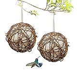 Gute Globe Hummingbird Nesters, Hummingbird Nesting Houses Set of 2, Bird Nesting Materials Holder, Refillable Cotton Balls Bird Nesting Station for Outdoor Wild Birds Wrens Finches Parrot (Small)