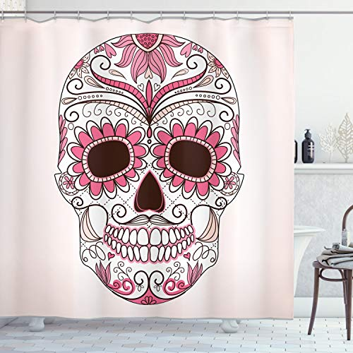 Ambesonne Skull Shower Curtain, Day of The Dead Girly Colors Skull with Floral Ornamental Design Symbolic Artwork, Cloth Fabric Bathroom Decor Set with Hooks, 75' Long, Brown Pink