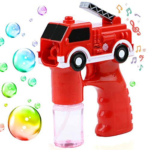 Volwco Bubble Machine Blower Gun with 2 Refill Solution, Automatic Engineering Bubble Maker with Light and Music, Best Gift for Girls and Boys Over 1.2.3 Years Old