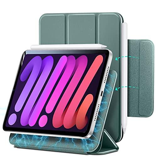 ESR magnetische Hülle kompatibel mit iPad Mini 6 2021 (6. Generation), praktische magnetische Befestigung, automatische Ruhe/Wachfunktion, unterstützt Pencil 2 komplett, Grün