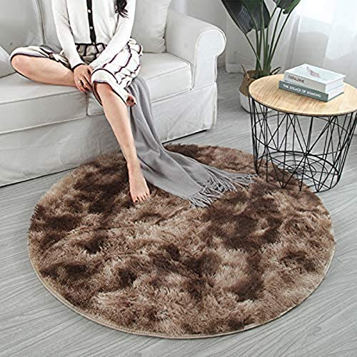 AIJOAIM Fluffy Carpet Modern Gradient Color Fluffy Round Rugs Use for Living Room Or Bedroom Area Rugs Home Cozy Shaggy Carpets Mat Floor Rugs,B,60x60cm