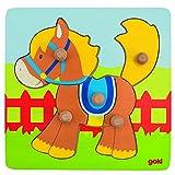 Goki- Puzzles de Madera Encaje Caballo, Multicolor (Gollnest & Kiesel 57555.0)