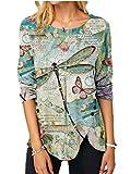SLYZ Mujeres Otoño Moda Casual Impresión Blusa De Manga Larga Color Suelta Camiseta Mujer