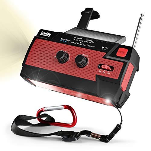 【2020進化版】Raddy 多機能防災ラジオ 大容量4000mAh 手回し充電 ソーラー 災害ラジオ 3つモード懐中電灯&人感センサー読書灯付き iPhone/Android 携帯充電可能 電池残量表示でき SOS緊急警報 反射ストリップ付き AM/FM