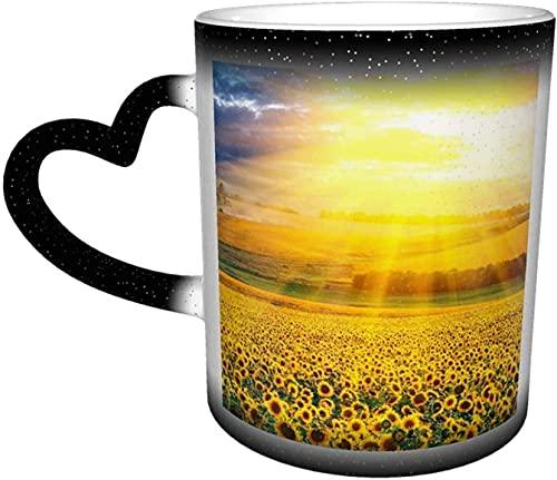 MENYUAN Sunshine Sky Suowers Taza mágica sensible al calor de color cambiante en el cielo arte divertido tazas de café regalos personalizados para los amantes de la familia Amigos - Bla