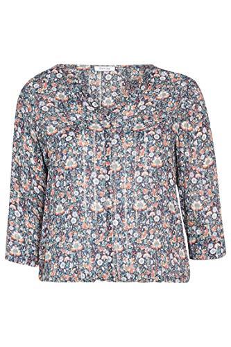 PAPRIKA Damen große Größen Bluse mit Blumen-Print und silbernen glänzenden Streifen V-Ausschnitt 3/4 Ärmel