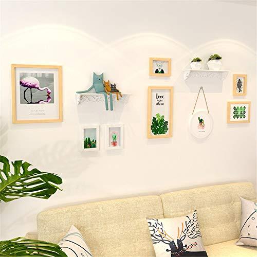 Marco de Fotos Set Wall Pastoral de pintura decorativa simple combinación de sala dormitorio Marco Sofá Reloj Imagen de pared de madera sólida del marco colgante Imagen para Decoraciones del Hogar Fam