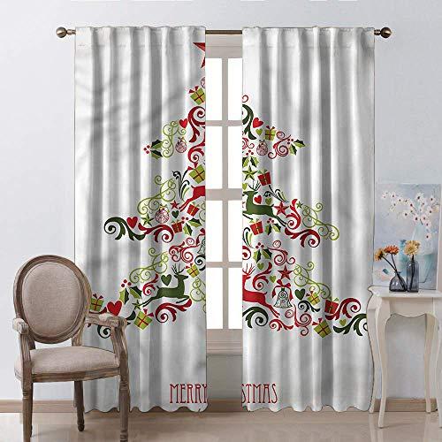 Decoratieve gordijnen voor woonkamer, Kerstmis Snowman Winter Sneeuwkinderen Snoeien Moonlight Sneeuwvlokken Digitale Print Blauw Geel Wit Fuchsia Rod Pocket Window Gordijnen