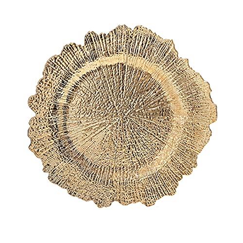 hongruida 1 placa de carga de arrecifes de plástico decorativo para servir cena, boda, Navidad, decoración de mesa, color dorado, tamaño de la placa: 13 pulgadas