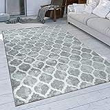 Paco Home Tapis À Poils Ras Gris Salon Design Oriental Motif Marocain Style Usé, Dimension:160x230 cm