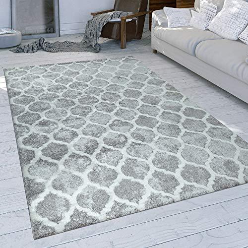 Paco Home Tapis À Poils Ras Gris Salon Design Oriental Motif Marocain Style Usé, Dimension:120x170 cm