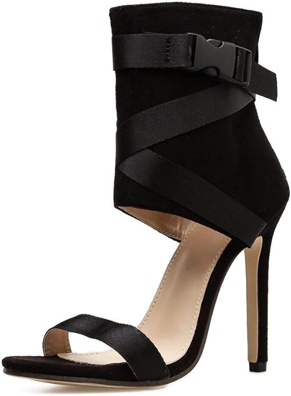 Gladiator Woman Sandals Pumps, Summer Casual Party shoes High Heels Cross-Strap Zipper Sandals Ladies shoes,Black,8.5US