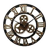 Habitación Estilo engranaje industrial reloj de pared decorativo retro del reloj de pared de metal era industrial decoración de la pared decoración del arte ( Color : Golden , Sheet Size : 50 cm )