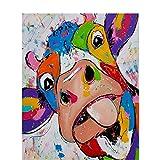 Bull Tongue Out Tiergemälde Von Zahlen Selbst Gemacht, Digitale Wandbilder, Leinwandbilder,...