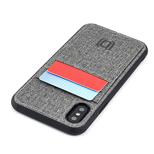 Dockem Luxe M2T Handyhülle mit 2X Kartenfach für iPhone XS/X: M-Serie TPU mit Canvas-Kunstleder - Schlanke Wallet Handytasche mit Integrierter Metallplatte für Magnet-Halterung