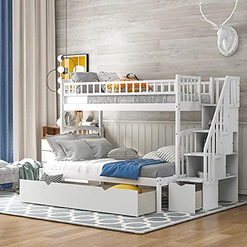 MWKL La más Nueva litera Doble sobre Doble/Completa con escaleras y cajones, litera de Madera con Almacenamiento y barandillas de Seguridad para niños, Convertible