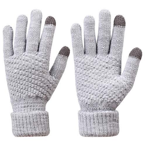 Gants d'hiver Femmes Hommes Gants Efficace Écran Tactile Gants en Tricot Laine Thermique Chauds Doux Gloves Gant Ski Moto Vélo Voiture Randonnée Snowboard Camping Cadeau de Noël Anniversaire