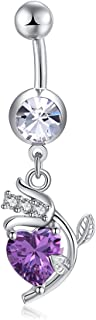 Personalized Flower Chic Zircon Belly Ring Bar Wedding Navel Body Piercing Eye-Catching Style a Purple