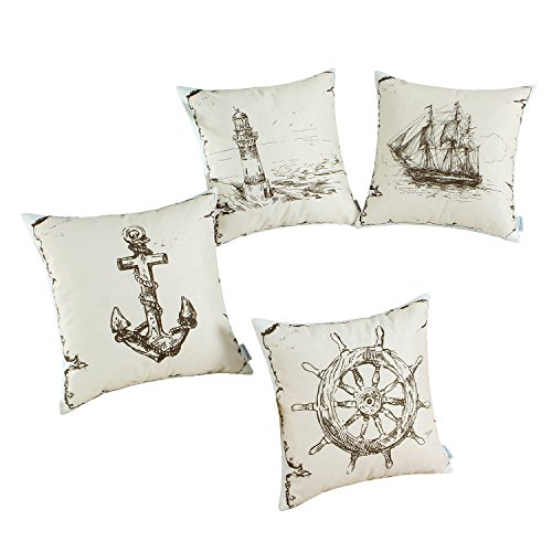 CaliTime Set of 4 Soft Canvas Throw Pillow Covers Cases for Couch Sofa Home Decoration 18 X 18 inches Vintage Explore Sailing Nautical Rudder Anchor Sailing Lighthouse