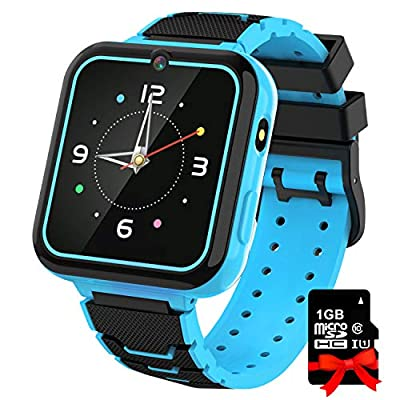 Smart Watch for Kids Boys Girls, 1.57'' HD Touch Screen 7 Puzzle Game Music Player Smartwatch with Alarm Clock Recorder Torch for Children Birthday Learning Gifts Teen Students ( Blue )
