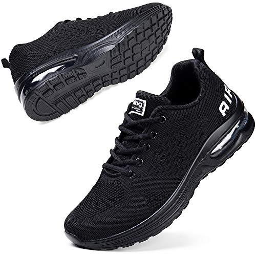 STQ Turnschuhe Damen Laufschuhe Atmungsaktiv Leichtgewichts Sportschuhe Sneaker Trainer für Fitness Gym Jogging Walkingschuhe Schwarz 35 EU
