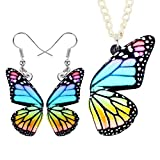 Acrílico Elegante Collar Pendientes De La Mariposa Collar De Insectos Ornamento Decoración De Los Accesorios Hyococ (Color : Floral Blue)
