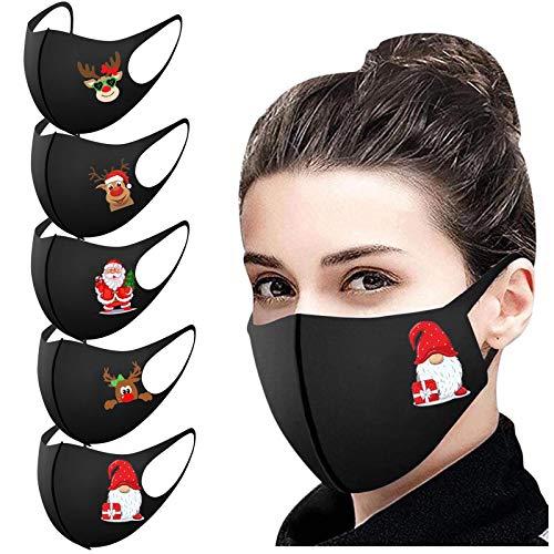 Aujelly 5 Stück Eisseide Weihnachten Mundschutz für Erwachsene Wiederverwendbar waschbar Staubdicht Atmungsaktiv Mund-Nasen Bedeckung Halstuch Schals BTHD (Erwachsene, Eisseidenstoff-E)