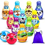 Kids Bowling Set, Toddler Learning Activities, 10 Cute Animal Soft Foam Pins 2 Balls with Storage Bag, Educational Games Indoor, Birthday Gifts for Preschool Boys Girls Baby Age 2 3 4 5 6 Years Old