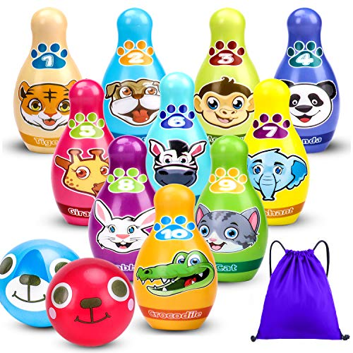 Kids Toys Bowling Set Toddler Learning Activity, Number 1-10 Cute Animal Soft Foam Pins 2 Balls with Storage Bag, Educational Baby Gift Indoor Outdoor Toys, Toddler Toys 2 Year Old Boys Girls, Age 1-5