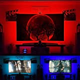 TV Backlight Kit for 30 to 60 inches HDTV USB Powered LED Strip Lights for Home Theater Ambient Behind Flat Screen TV Bias Lighting 6.6 ft RGB PC/TV Black Strip Light - Reduce Eye Strain