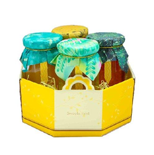 モルドバ産 蜂蜜4本セット(籠箱)アカシア・5月・ヒマワリ・ボダイジュ 190g×4本