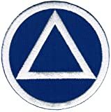 Circle Triangle Sobriety Patch Embroidiered Iron-On Sober Emblem Blue White