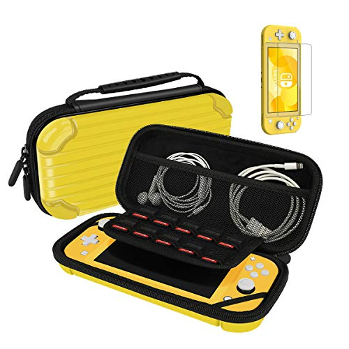 Carry Case for Nintendo Switch Lite Portable Travel Protector Case with 10 Game Slots and Tempered Glass Screen Protector - Yellow