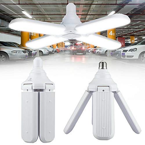 E27 Lampada Garage LED, Fan blade shape Bianco Freddo 60W 6500K 5500Lm Lampada negozio deformabile con 4 pannelli regolabili, Risparmio Energetico Lampadina per Garage, Cantina, Officina, Magazzino