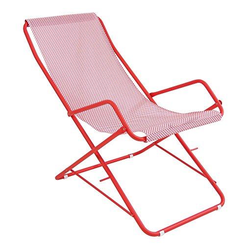 Bahama Liegestuhl, rot Sitzfläche EMU-Tex rot 300 46 BxHxT 58x95x108cm Gestell rot
