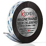 Reorda® Magnetband selbstklebend | Höchstmögliche Haftkraft durch stärksten 3M-Kleber | Magnetband mit optimierter Magnetkraft durch Anisotropic Material | Anwendbar in Küche, Schule & Büro