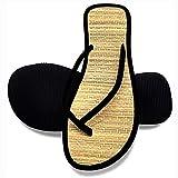 Zapatillas De Lino De Verano Chanclas Chanclas De Lino De Paja con Punta Abierta para El Hogar, Al Aire Libre, Interiores, Antideslizantes, Zapatos De Playa para Mujeres Y Hombres,Negro,39