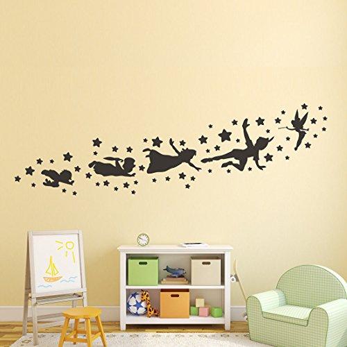 Wall4Stickers Peter Pan Tinker Bell Wandtattoos abnehmbare Kinderzimmer Karikatur Märchen Weihnachten Schlafzimmer Vinyl Aufkleber Wandbild Fenster Kinder Kinder Kunst