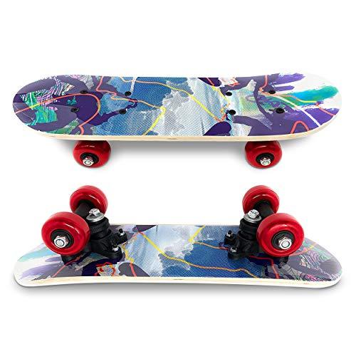 Toddler Mini Skateboard for Kids - Wooden 17 Inches Long Beginner Skateboard Great Gift Idea - Random Colors Styles