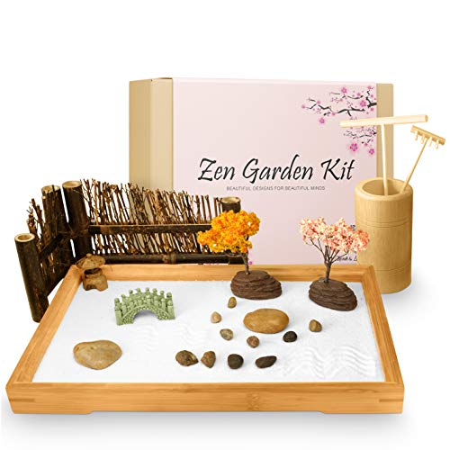 Japanese Zen Garden Kit for Desk - 11x7.5 Inches Large - Accessories include Bamboo Tray, White...