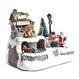 クリスマスハウス 樹脂製 LEDライト ぐるぐる 回れる クリスマスオルゴール インテリア オブジェ 卓上装飾 室内デコレーション クリスマスプレゼント 贈り物