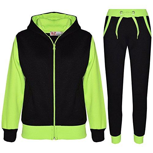 A2Z 4 Kids® Kinder Trainingsanzug Mädchen Jungen Designer Plain Kontrast - T.S Plain 101 Neon Green 13