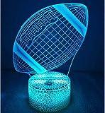 Créatif 3D Rugby Nuit Lampe Art Déco Lampe Lumières LED Décoration Lampes Touch Control 7 Couleurs Change Veilleuse USB Powered Enfants Cadeau Anniversaire Noël Cadeaux