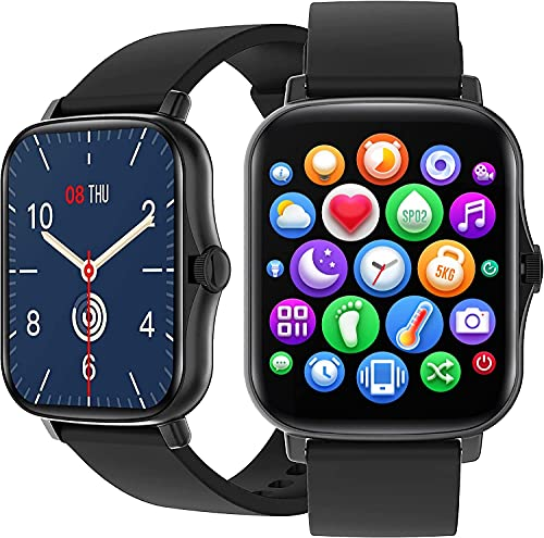 [2021] Orologio Smartwatch 1.69' Impermeabile fitness tracker Cardiofrequenzimetro Uomo Donna con Saturimetro Monitoraggo sonno Notifiche Messaggi Contapassi Cronometro per Android e iOS (Black)