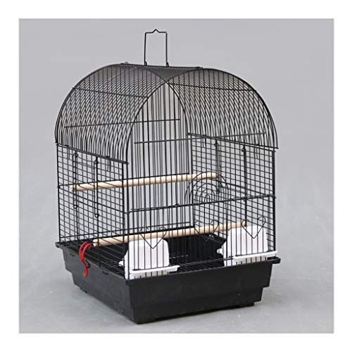 OMING Birdcages Budgie Finch Canary Bird Cage 35 * 40 * 51CM Pet Home, Portable Small Sized Birds Travel Cage, Metal Breeding Cage, Black Metal Bird Cage
