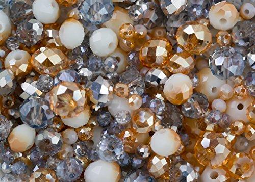 Perline miste di vetro colore oro e argento a forma di rondelle in 3mm, 6mm e 8mm, per creazione gioielli: 340 pezzi.
